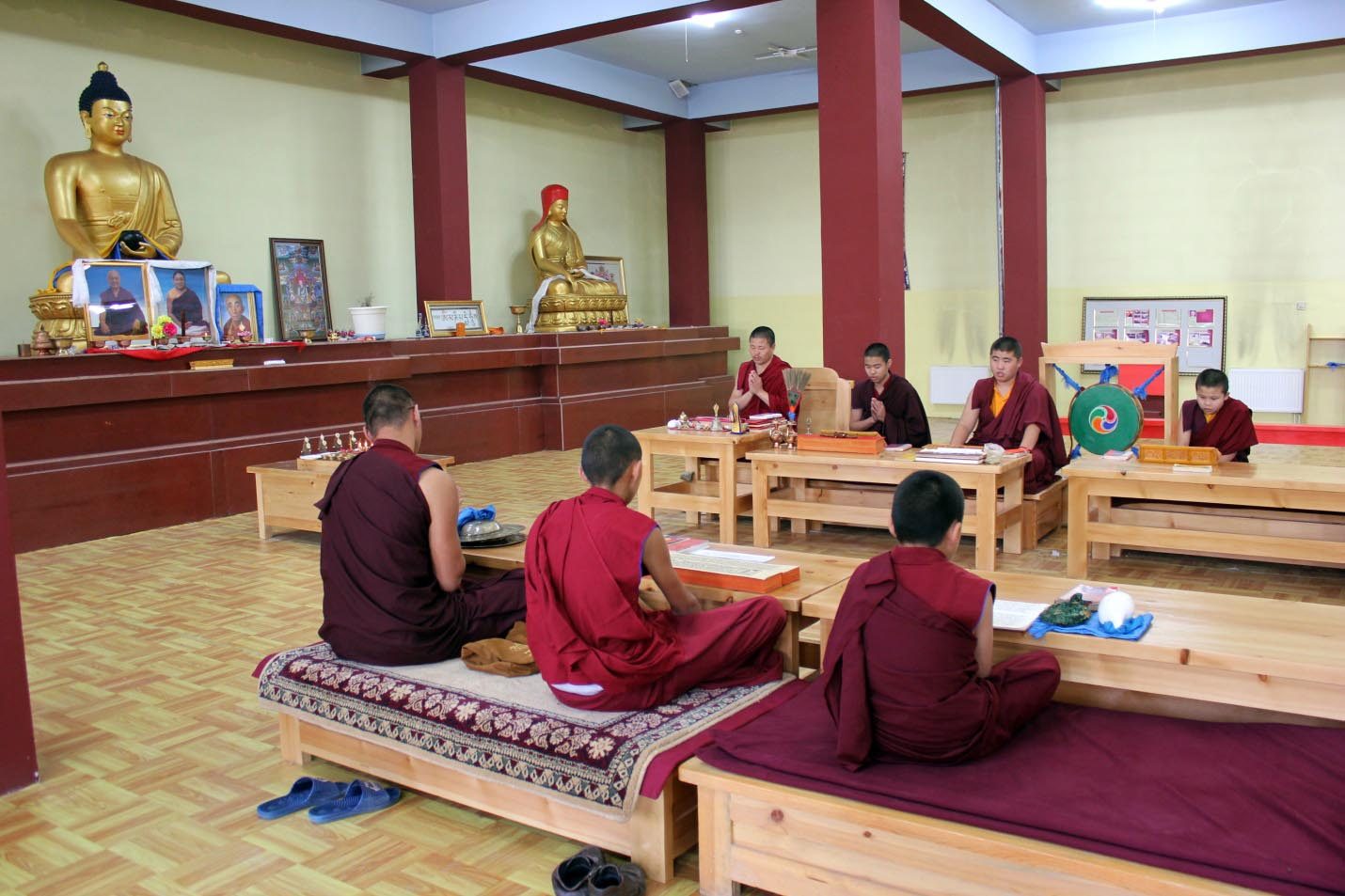 The Sangha at prayer in the shrine hall picture 1