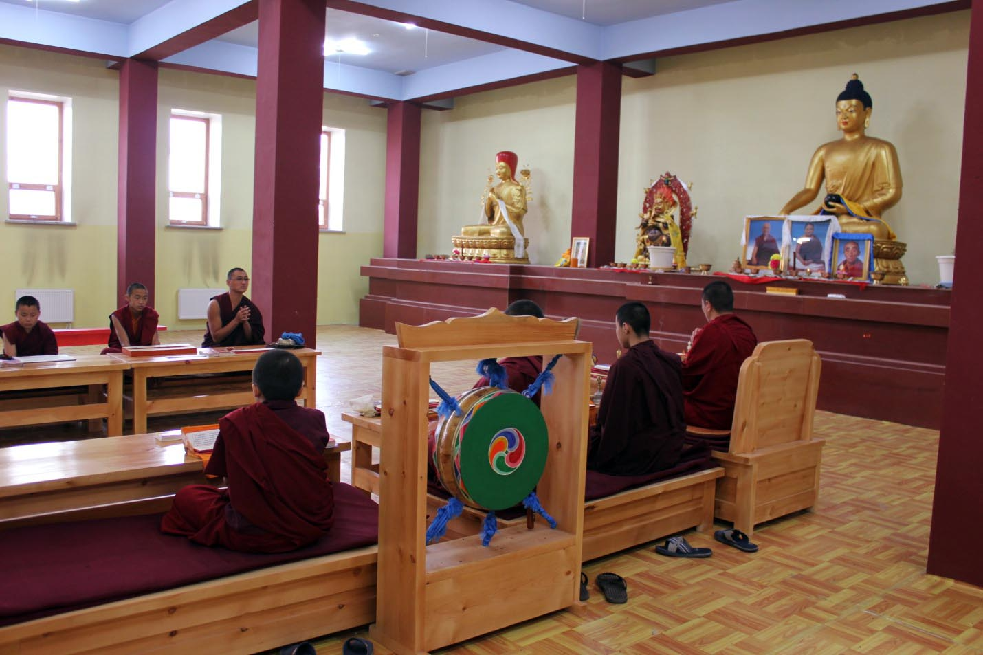 The Sangha at prayer in the shrine hall picture 3
